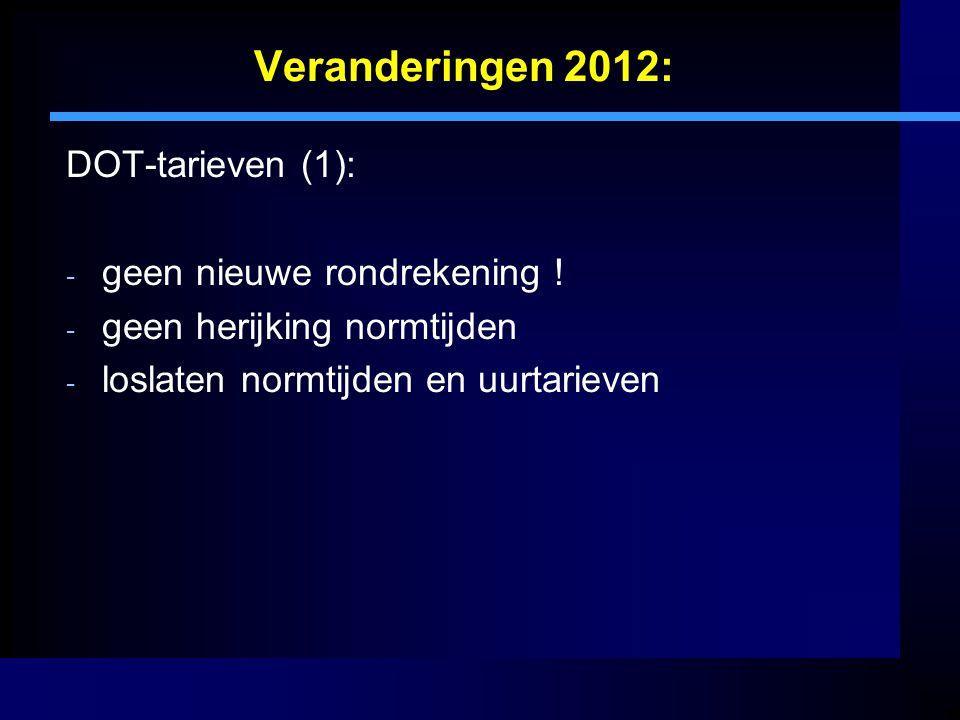 Veranderingen 2012: DOT-tarieven (1): geen nieuwe rondrekening !
