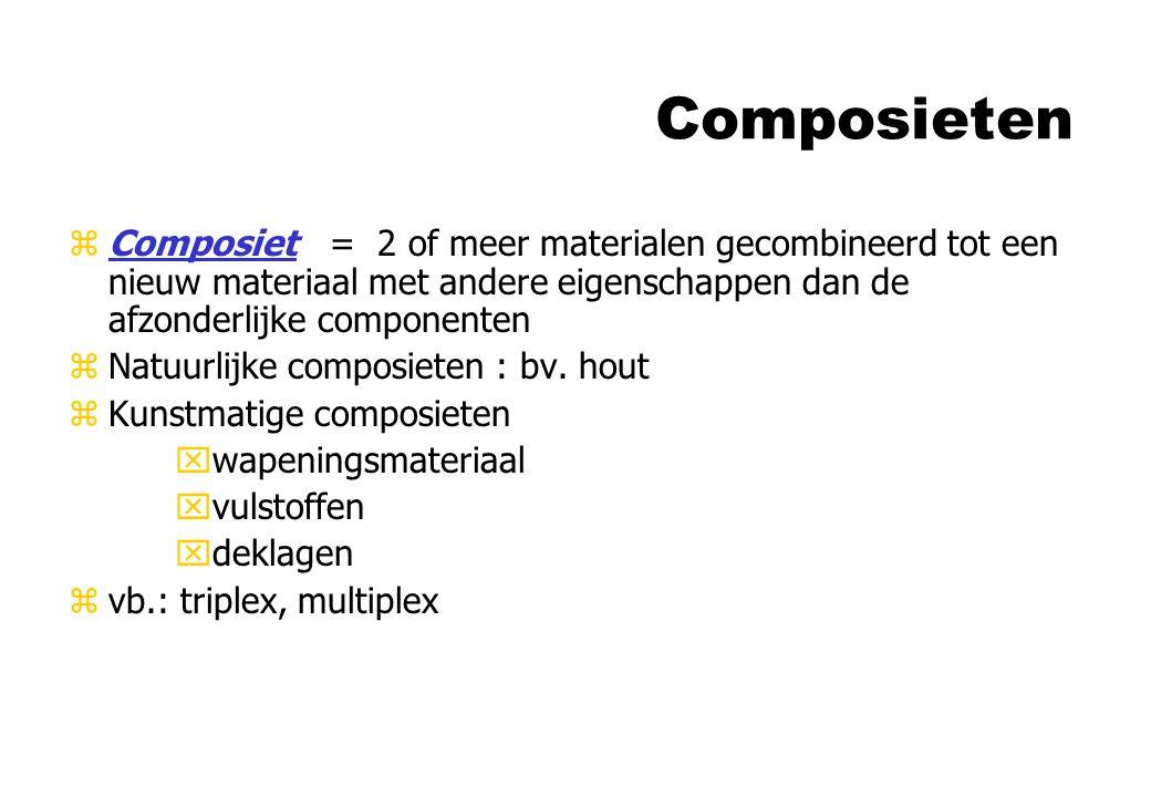 Composieten Composiet = 2 of meer materialen gecombineerd tot een nieuw materiaal met andere eigenschappen dan de afzonderlijke componenten.