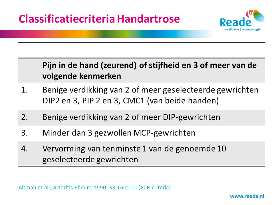 Classificatiecriteria Handartrose