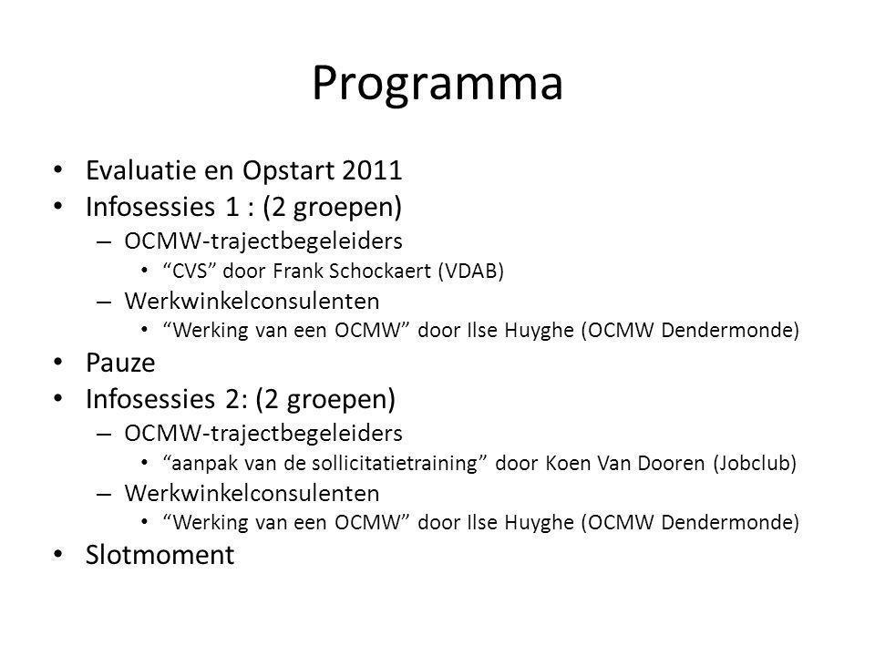 Programma Evaluatie en Opstart 2011 Infosessies 1 : (2 groepen) Pauze