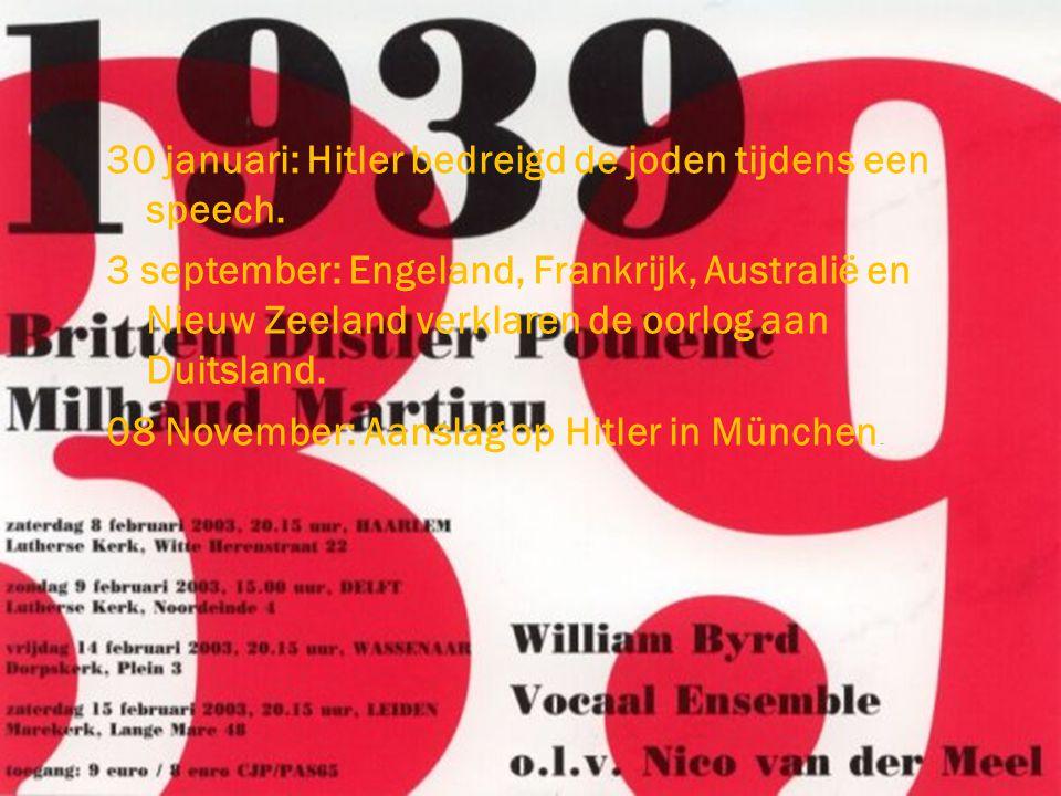 30 januari: Hitler bedreigd de joden tijdens een speech