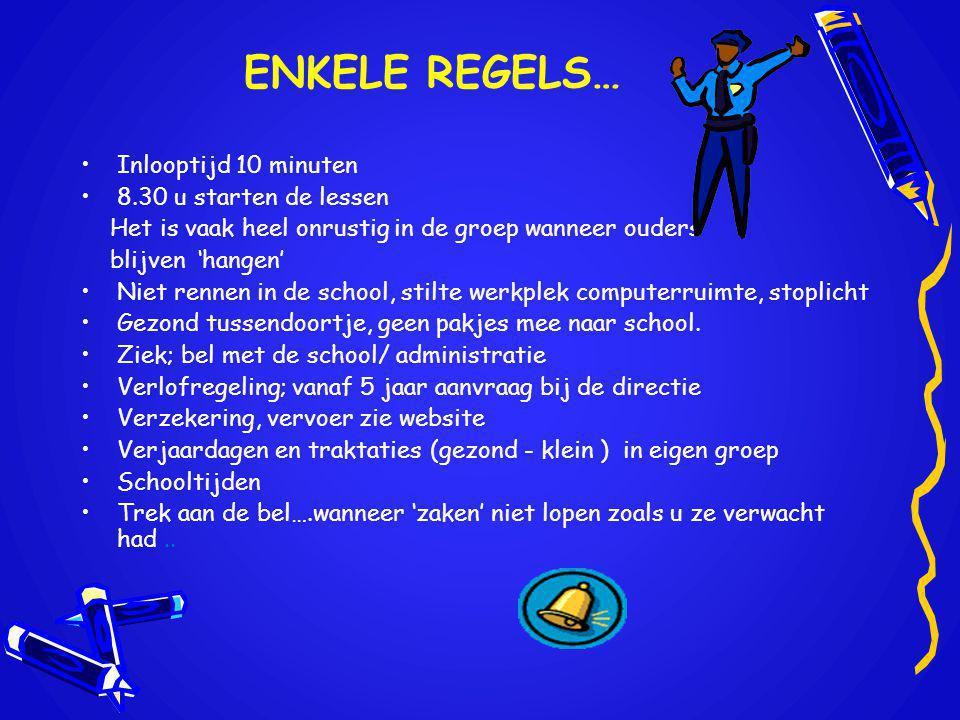 ENKELE REGELS… Inlooptijd 10 minuten 8.30 u starten de lessen
