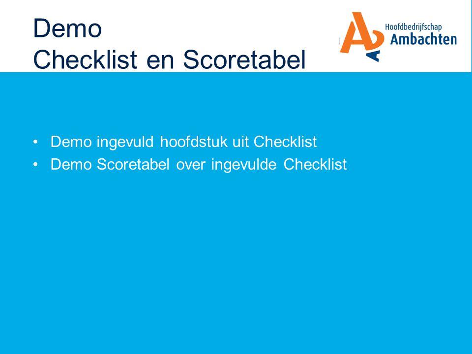 Demo Checklist en Scoretabel