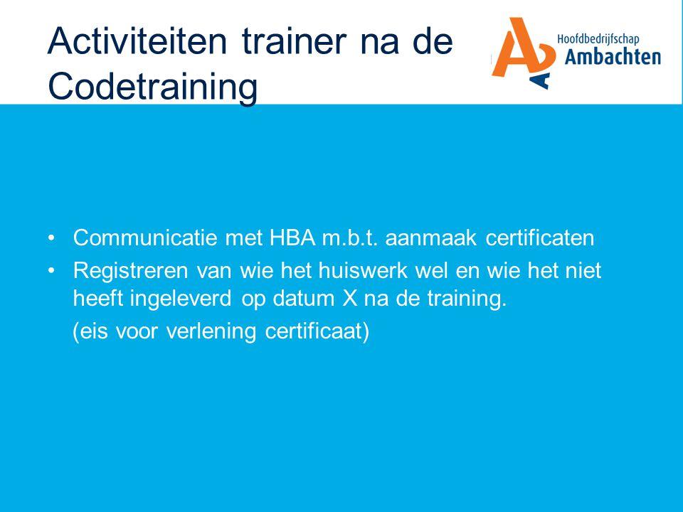 Activiteiten trainer na de Codetraining