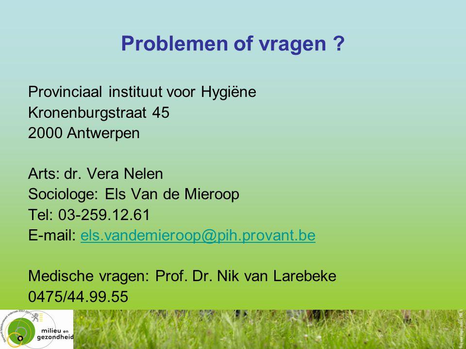 Problemen of vragen Provinciaal instituut voor Hygiëne