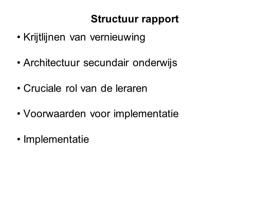 Structuur rapport Krijtlijnen van vernieuwing. Architectuur secundair onderwijs. Cruciale rol van de leraren.