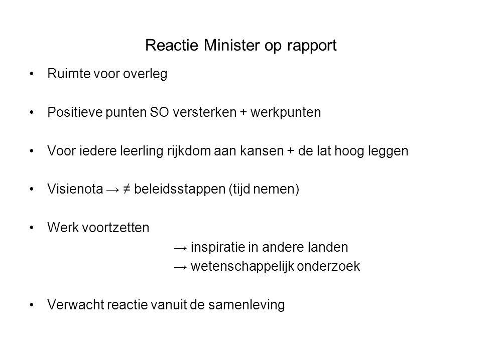Reactie Minister op rapport