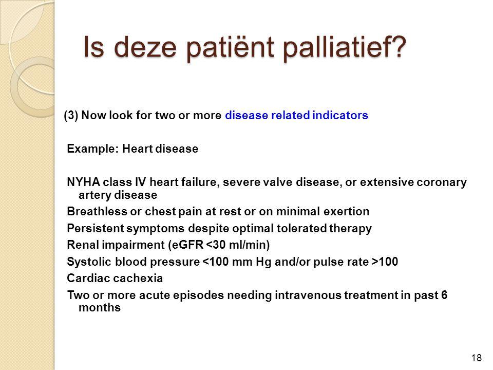 Is deze patiënt palliatief