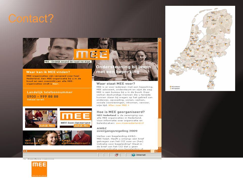 Contact Waar is MEE te vinden Contact gegevens en algemene informatie. (postcode en zoekkaartje).