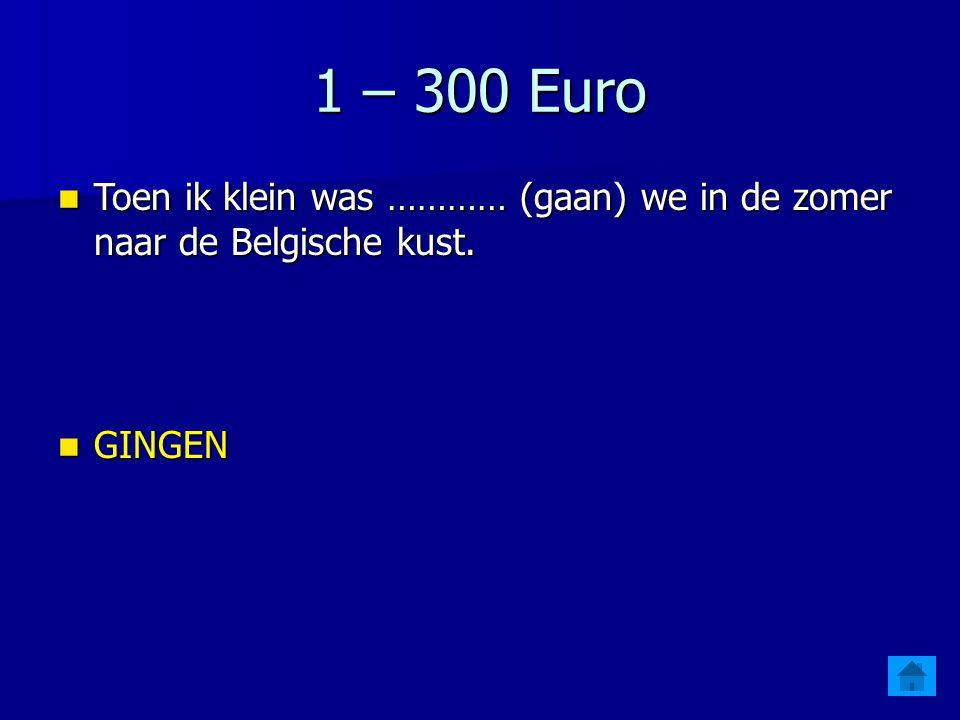 1 – 300 Euro Toen ik klein was ………… (gaan) we in de zomer naar de Belgische kust. GINGEN