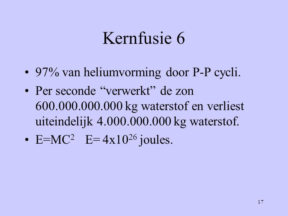 Kernfusie 6 97% van heliumvorming door P-P cycli.