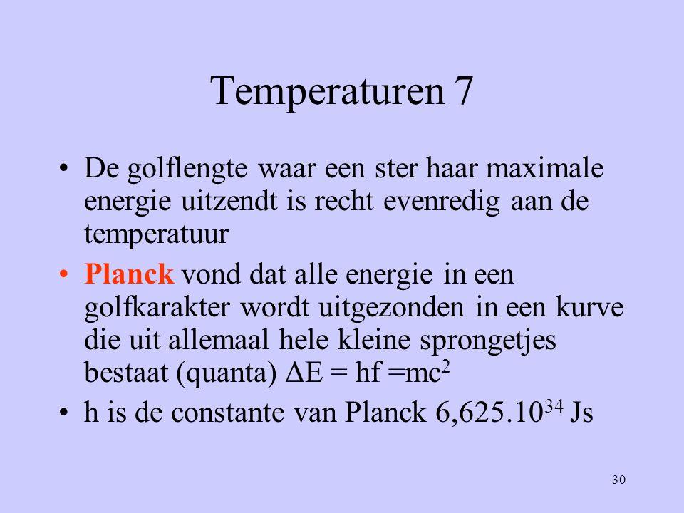 Temperaturen 7 De golflengte waar een ster haar maximale energie uitzendt is recht evenredig aan de temperatuur.