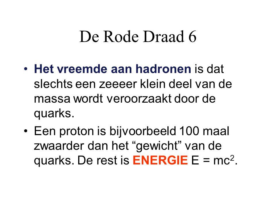 De Rode Draad 6 Het vreemde aan hadronen is dat slechts een zeeeer klein deel van de massa wordt veroorzaakt door de quarks.