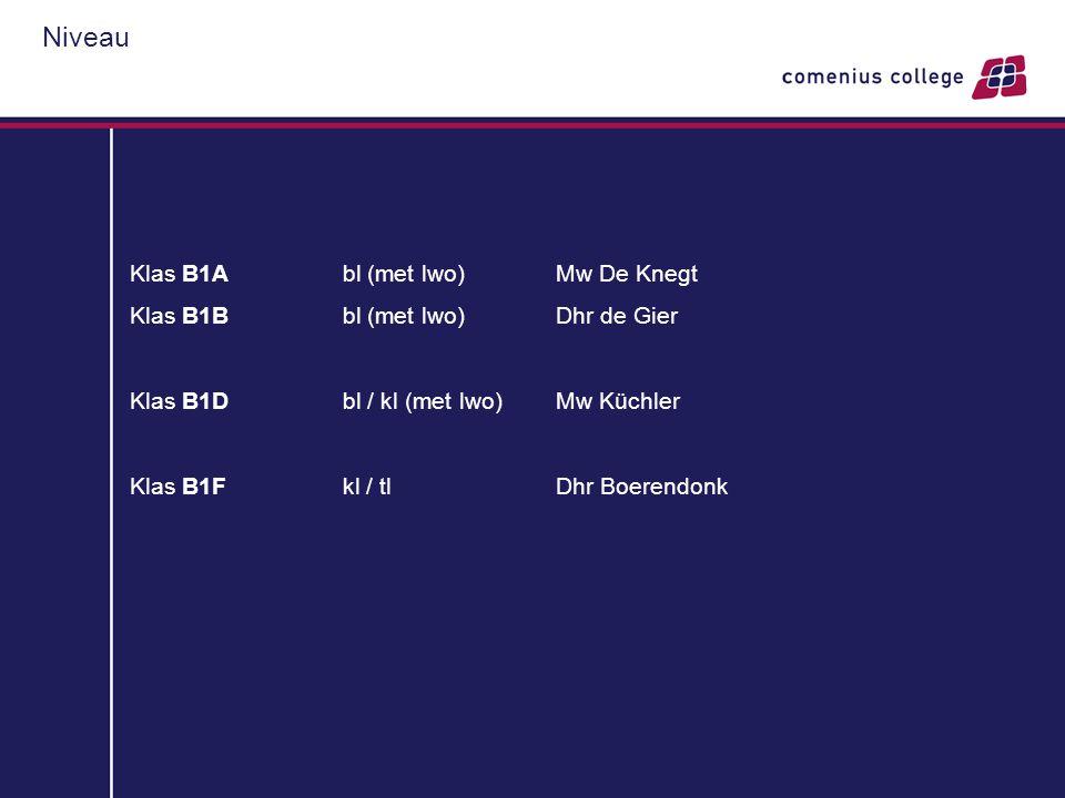 Niveau Klas B1A bl (met lwo) Mw De Knegt