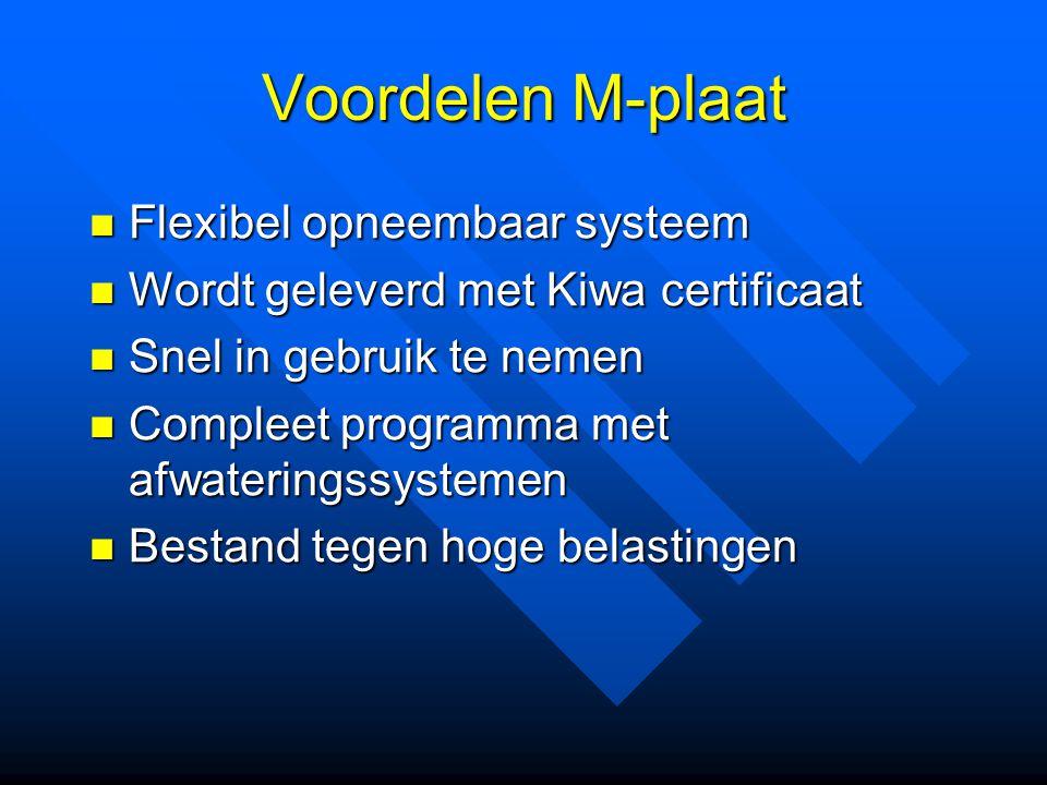 Voordelen M-plaat Flexibel opneembaar systeem