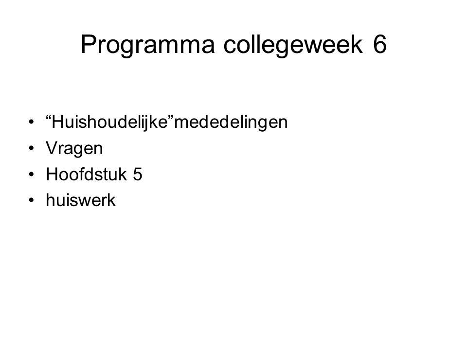 Programma collegeweek 6
