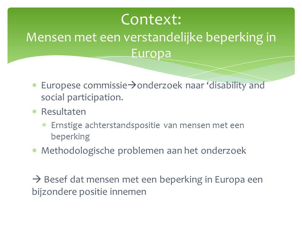 Context: Mensen met een verstandelijke beperking in Europa