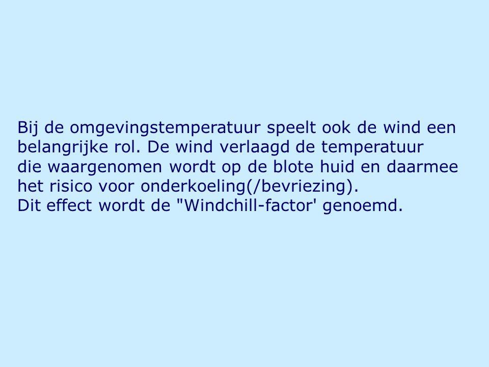 Bij de omgevingstemperatuur speelt ook de wind een