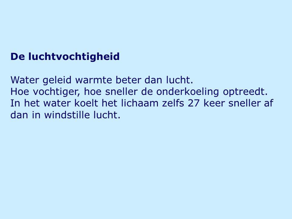 De luchtvochtigheid Water geleid warmte beter dan lucht.