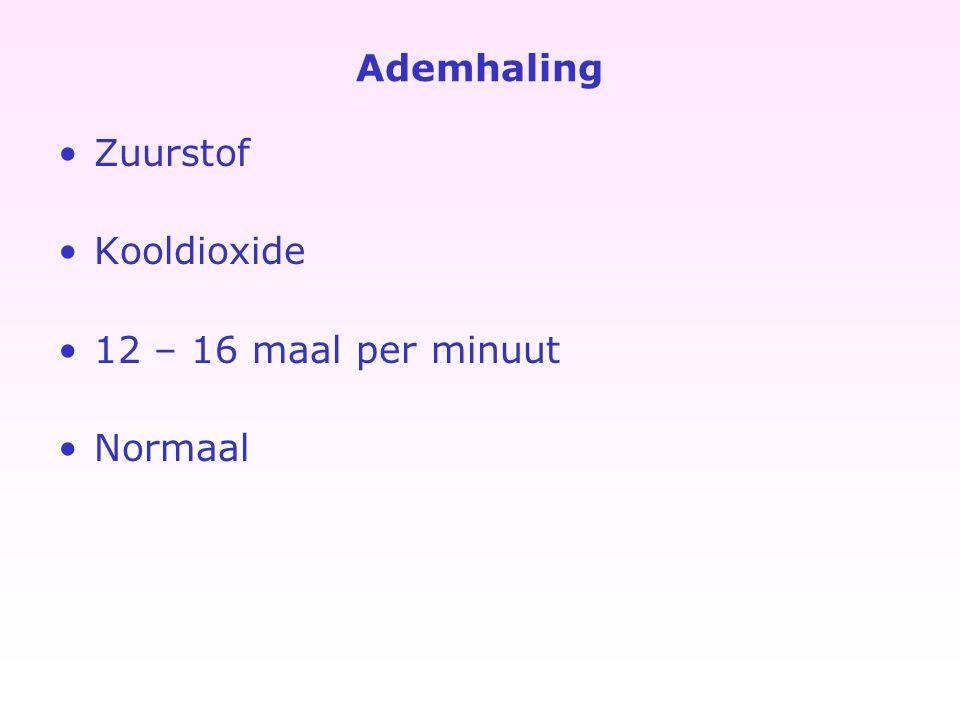 Ademhaling Zuurstof Kooldioxide 12 – 16 maal per minuut Normaal