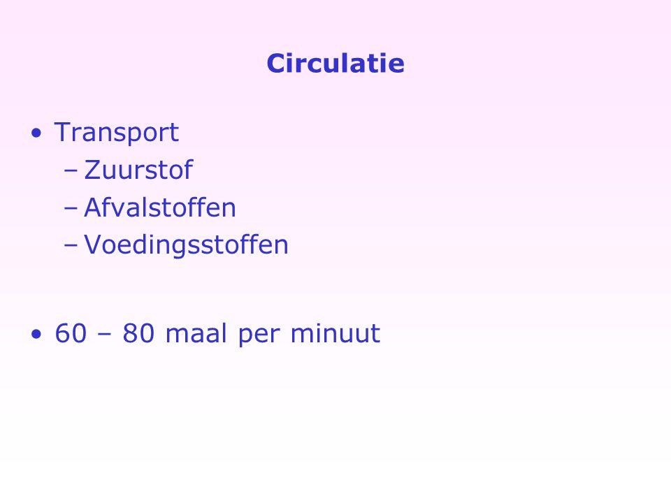 Circulatie Transport Zuurstof Afvalstoffen Voedingsstoffen 60 – 80 maal per minuut