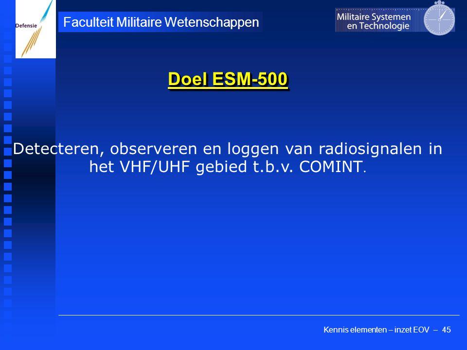 Doel ESM-500 Detecteren, observeren en loggen van radiosignalen in het VHF/UHF gebied t.b.v.