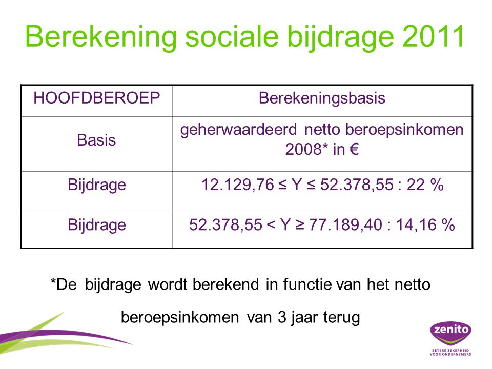 Berekening sociale bijdrage 2011