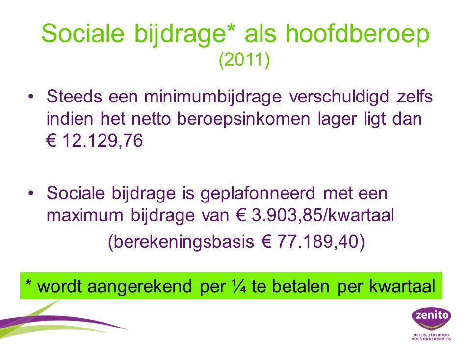 Sociale bijdrage* als hoofdberoep (2011)