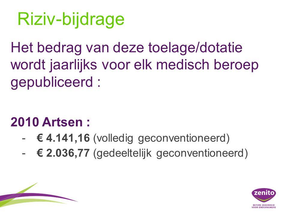 Riziv-bijdrage Het bedrag van deze toelage/dotatie wordt jaarlijks voor elk medisch beroep gepubliceerd :