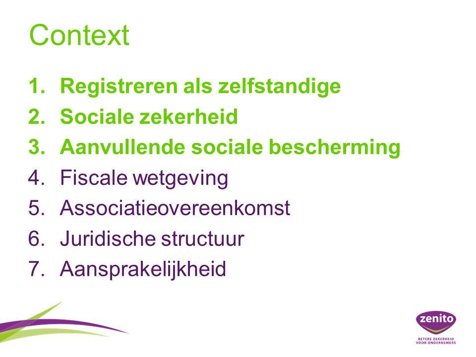 Context Registreren als zelfstandige Sociale zekerheid