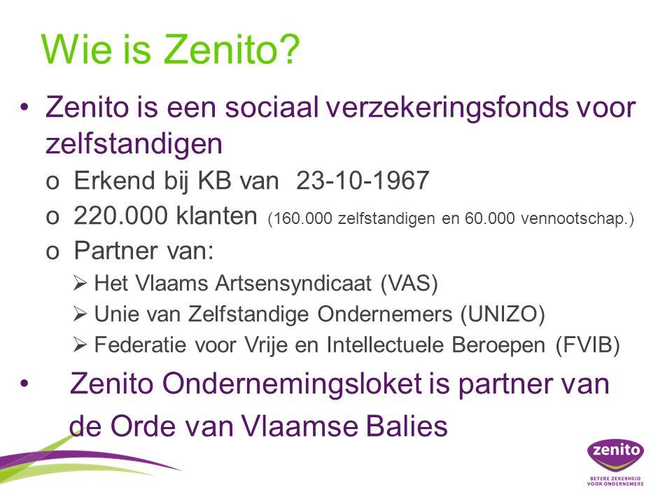 Wie is Zenito Zenito is een sociaal verzekeringsfonds voor zelfstandigen. Erkend bij KB van 23-10-1967.