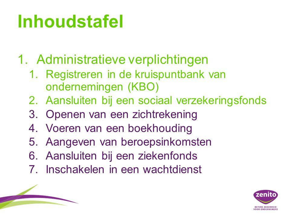 Inhoudstafel Administratieve verplichtingen