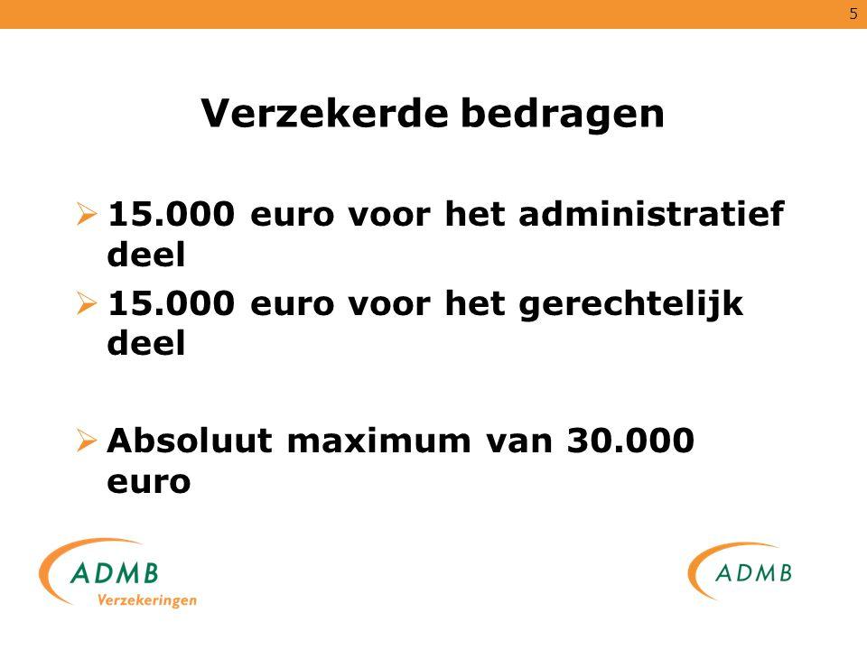 Verzekerde bedragen 15.000 euro voor het administratief deel