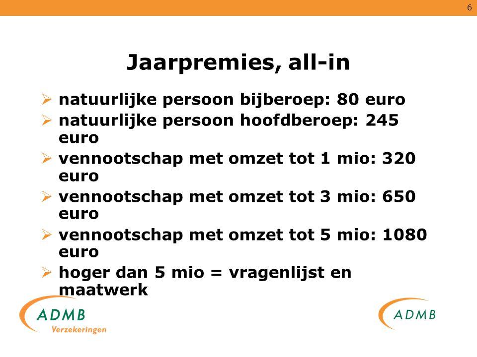 Jaarpremies, all-in natuurlijke persoon bijberoep: 80 euro