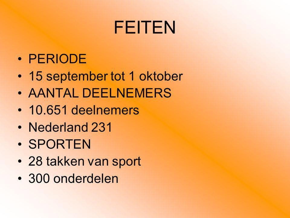 FEITEN PERIODE 15 september tot 1 oktober AANTAL DEELNEMERS