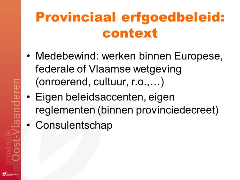 Provinciaal erfgoedbeleid: context