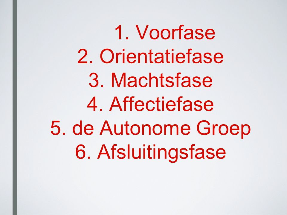 1. Voorfase 2. Orientatiefase 3. Machtsfase 4. Affectiefase 5