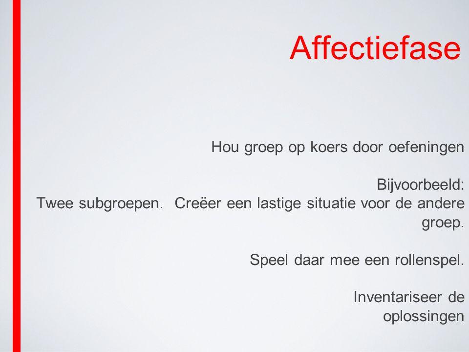 Affectiefase Hou groep op koers door oefeningen Bijvoorbeeld: