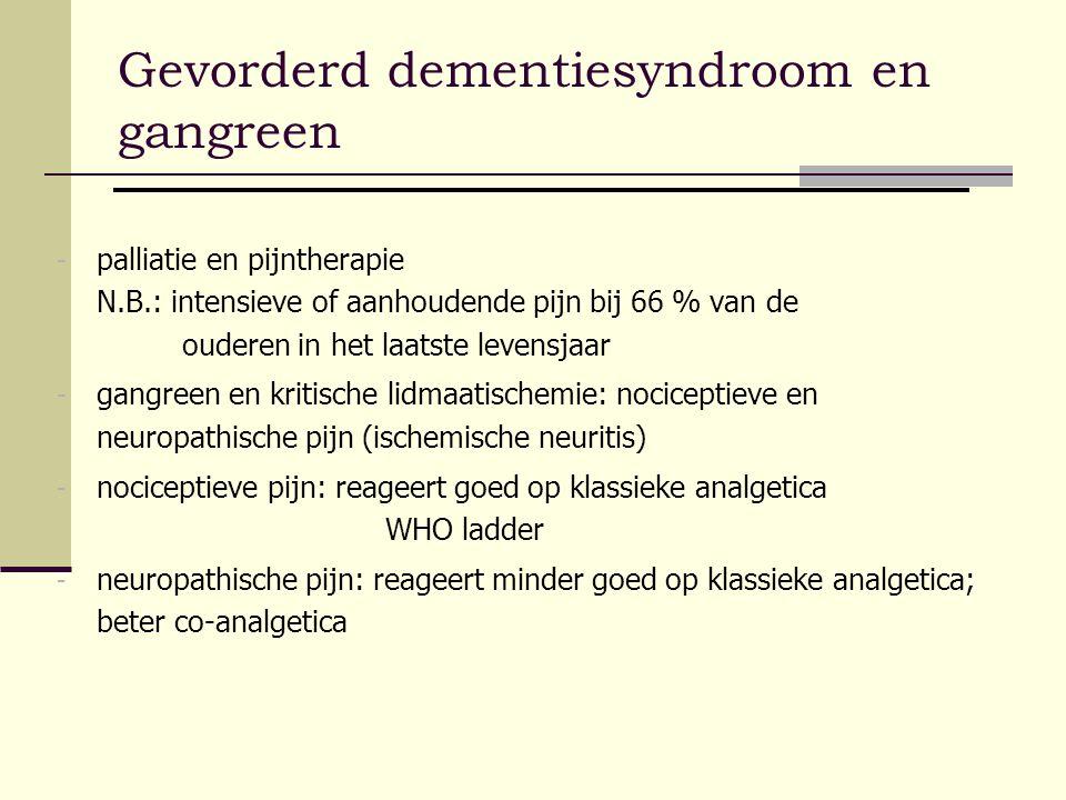 Gevorderd dementiesyndroom en gangreen