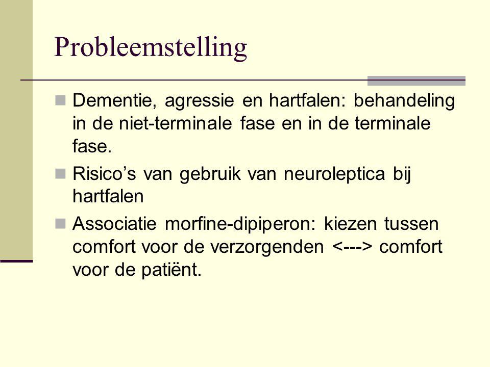 Probleemstelling Dementie, agressie en hartfalen: behandeling in de niet-terminale fase en in de terminale fase.
