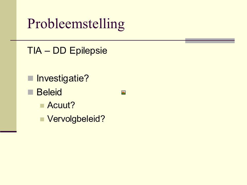 Probleemstelling TIA – DD Epilepsie Investigatie Beleid Acuut