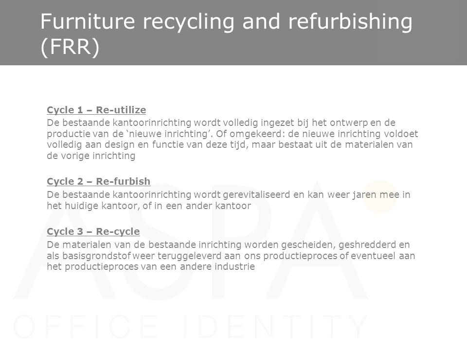 Furniture recycling and refurbishing (FRR)