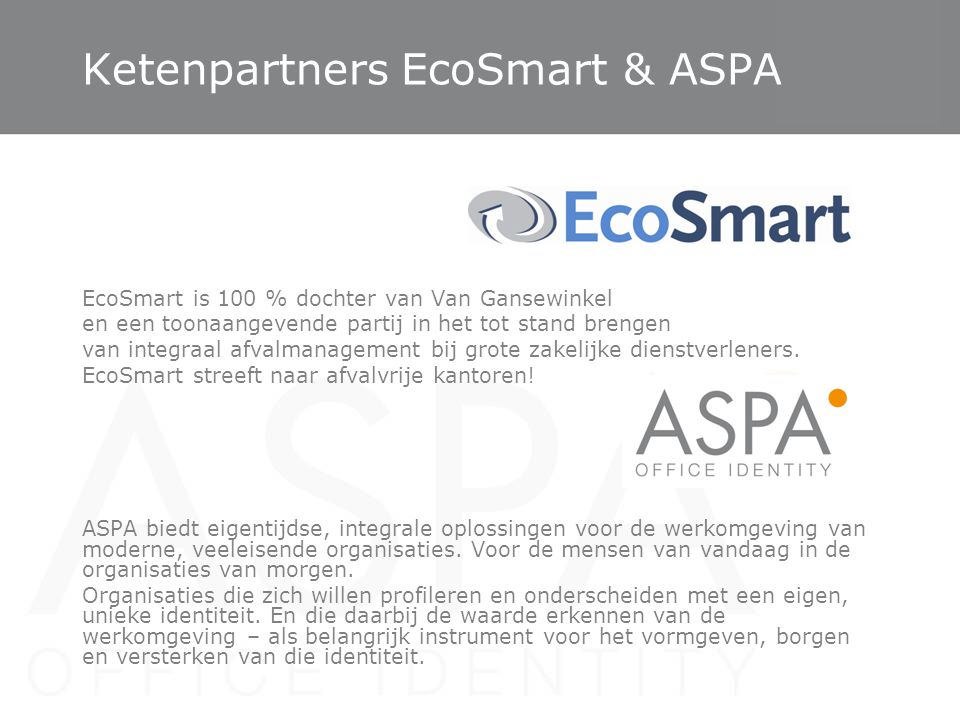 Ketenpartners EcoSmart & ASPA