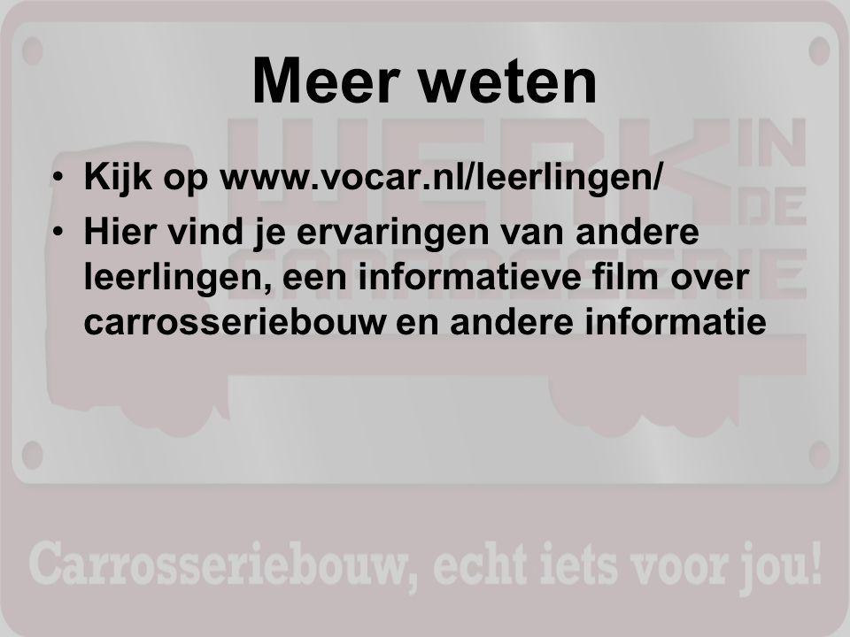 Meer weten Kijk op www.vocar.nl/leerlingen/