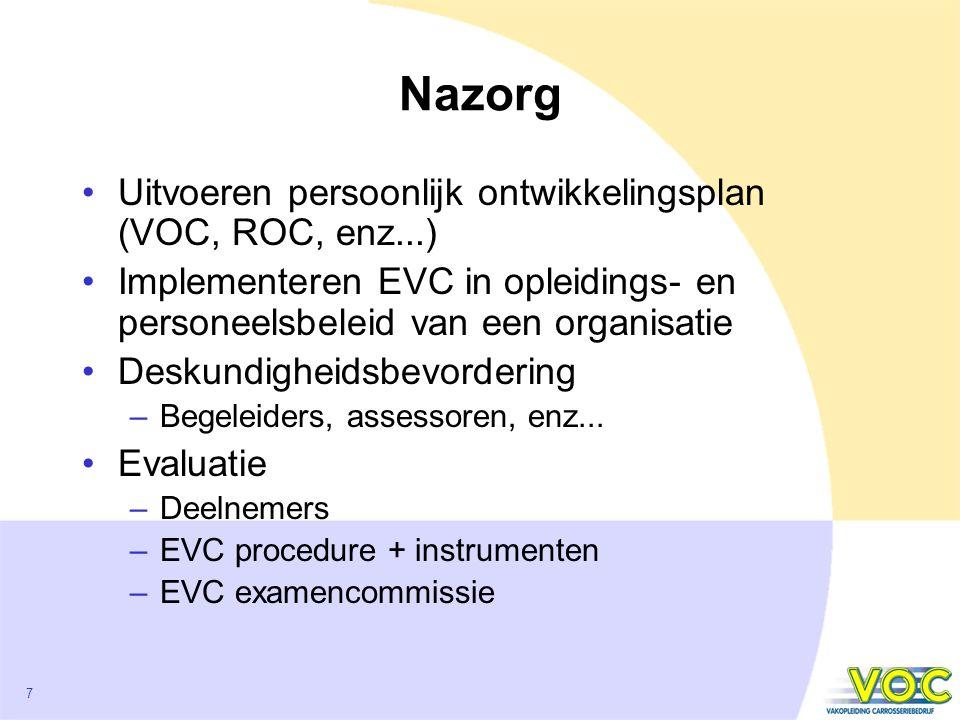 Nazorg Uitvoeren persoonlijk ontwikkelingsplan (VOC, ROC, enz...)
