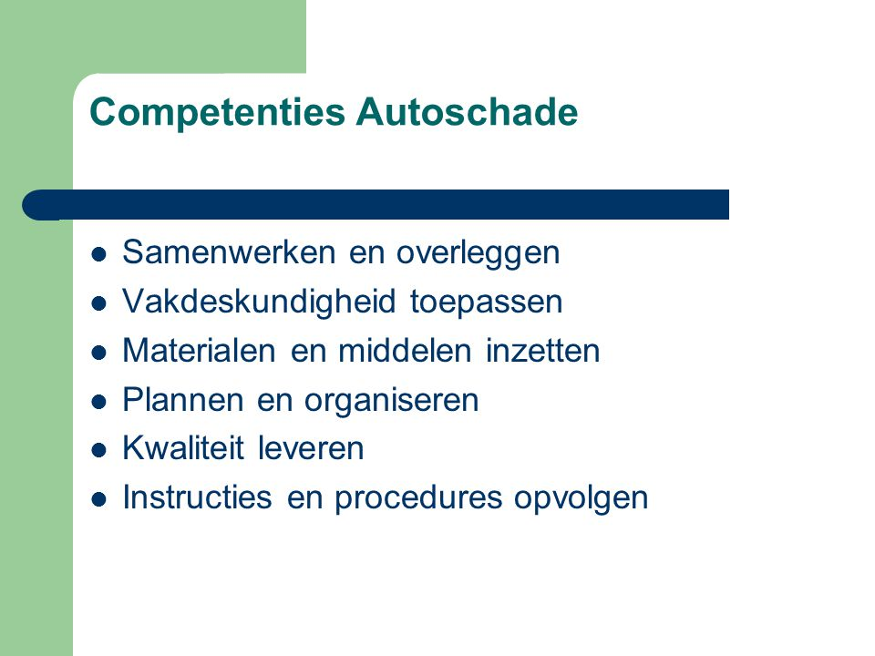 Competenties Autoschade