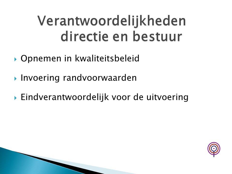 Verantwoordelijkheden directie en bestuur
