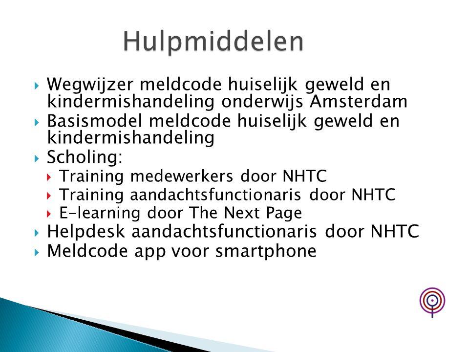Hulpmiddelen Wegwijzer meldcode huiselijk geweld en kindermishandeling onderwijs Amsterdam.