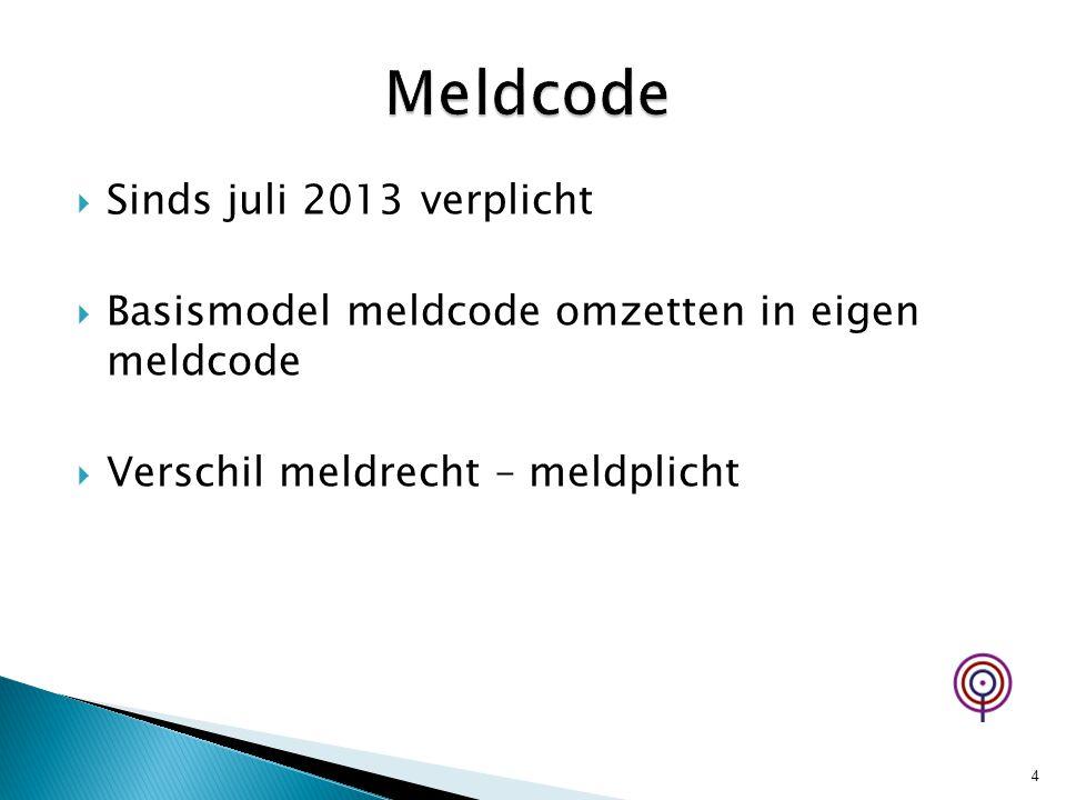 Meldcode Sinds juli 2013 verplicht