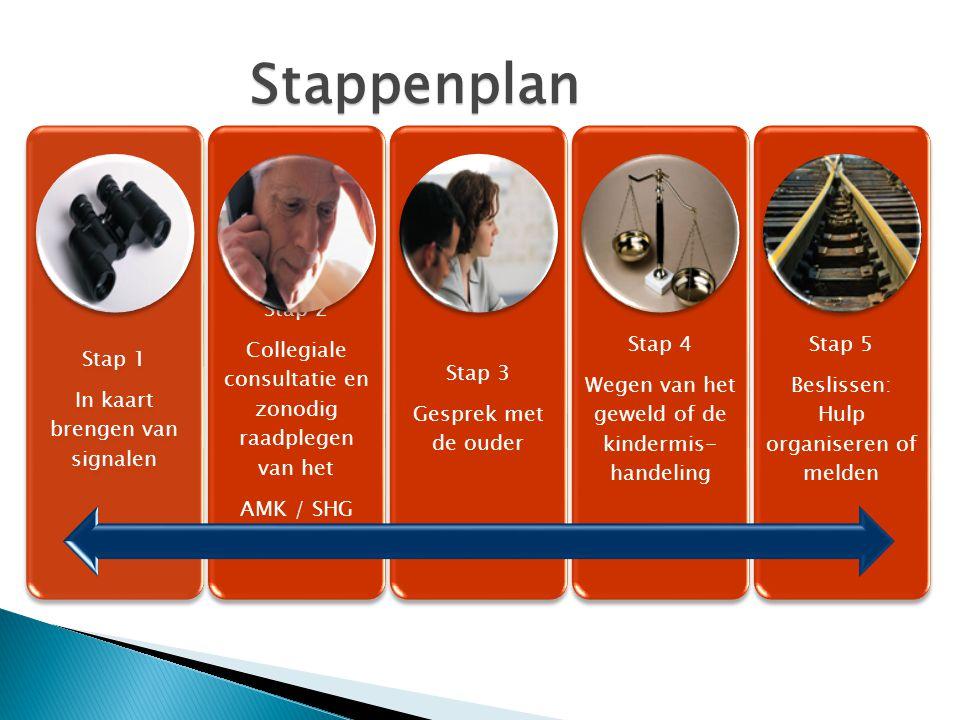 Stappenplan Stap 1. In kaart brengen van signalen. Stap 2. Collegiale consultatie en zonodig raadplegen van het.